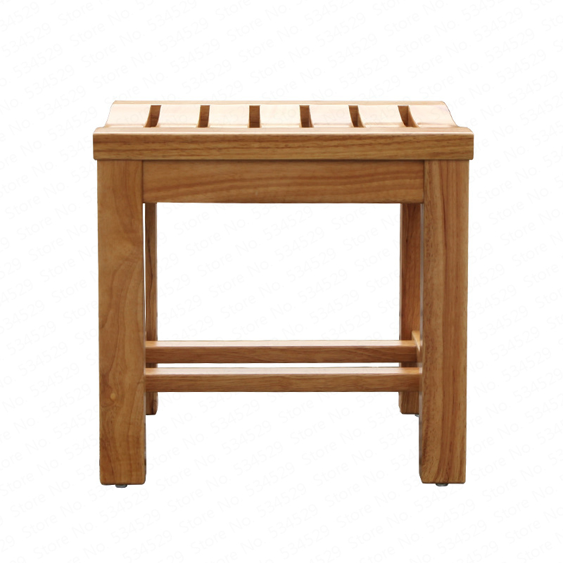 B Solid Wood Shower Bench, Waterproof Shower Chair For Elderly Pregnant Woman,change Shoes Stool Widen Anti-skid Bath Chair
