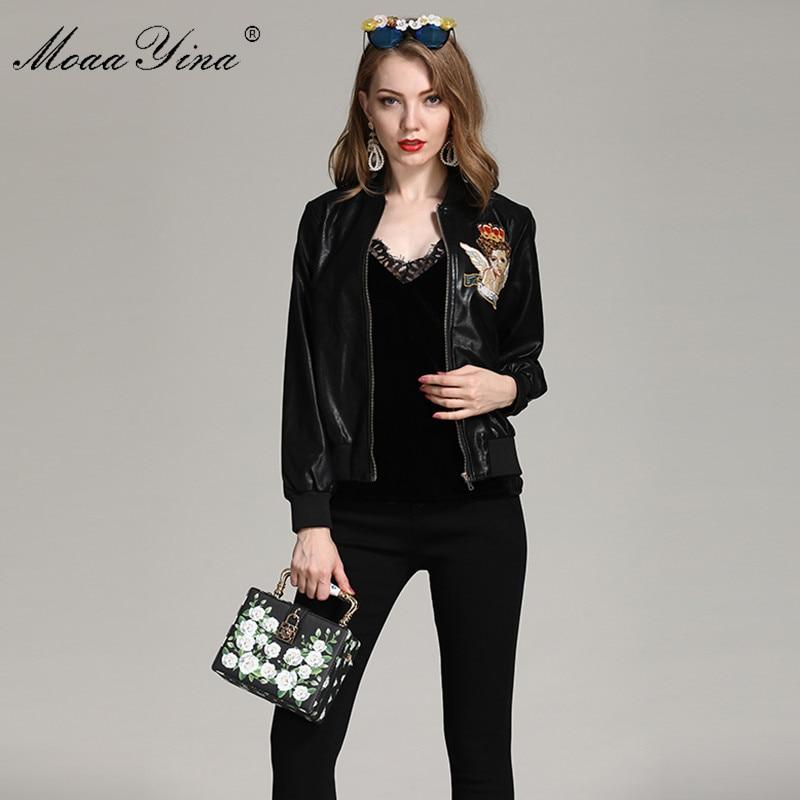 Printemps Moaayina Beauté Créateur Casual Noir Ange Longues Broderie Mode De Élégant Manteaux Pu Haute Manches Manteau Qualité Femmes xOUwtYUr