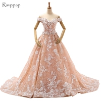Long Arabic Style Evening Dresses 2017 Puffy Ball Gown V Neck Cap Sleeve Lace Women Formal