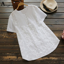 цена на Plus size 4xl 5xl 2019 Lace Women Summer Embroidery White Tops Short Sleeve V-Neck Female T-Shirt Casual Loose Ladies Tee Shirt