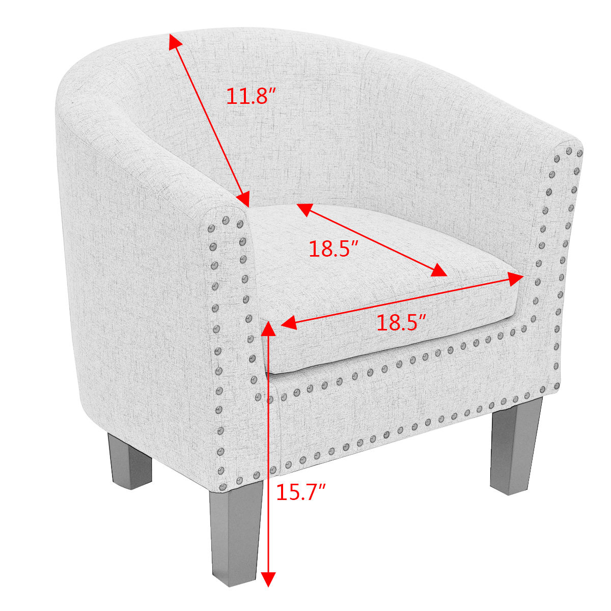 Giantex Modern Living Room Armchair Accent Fabric Rivets Single Sofa ...