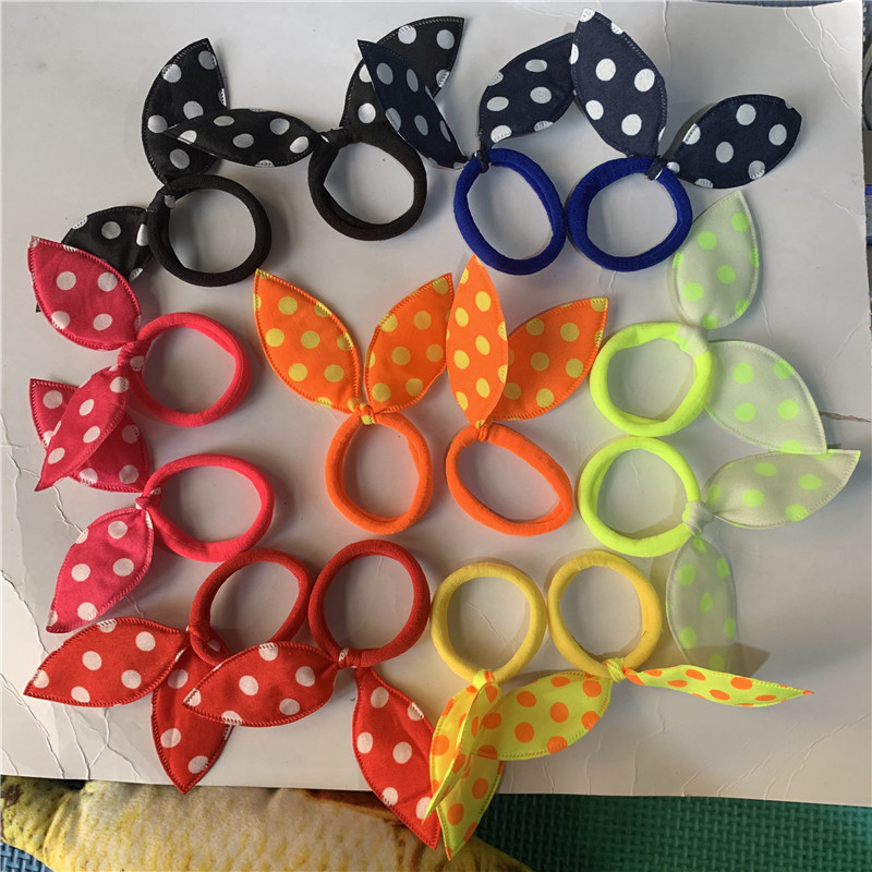 Girl's Hair Accessories Apparel Accessories Clever Kids Girl Cute Rabbit Ears Polka Dot Hair Tie Ponytail Holder Bow Elastic Bands Hair Accessories 10pcs We Take Customers As Our Gods