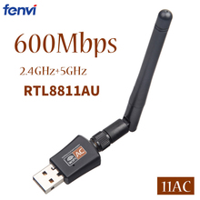 все цены на 600Mbps 2.4G/5Ghz USB Wireless Wifi Adapter Dual Band 802.11ac RTL8811AU Wi-fi Receiver Antenna For Desktop/Laptop/PC онлайн