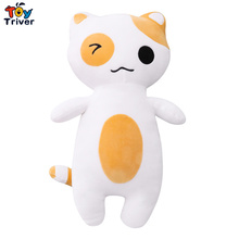 цена Plush Neko Atsume Cat Toy Cute Cats Kitty Long Pillow Stuffed Doll Baby Kids Children Birthday Christmas Gift Home Shop Decor онлайн в 2017 году