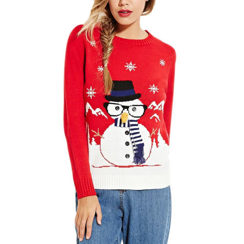 Winter Sweater Women Christmas Female Reindeer Snowman Sweater Women Thicken Pullovers Lady Knitted Cotton Blend Sweaters