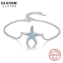 ELESHE 2019 Summer Original Real 925 Sterling Silver Blue CZ Crystal Starfish Charm Bracelet for Women Ladies Wedding Jewelry(China)