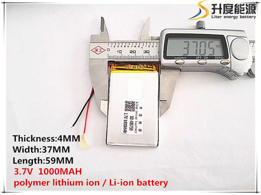 Obedient 2pcs Polymer Lithium Ion / Li-ion Battery For Toy,power Bank,gps,mp3,mp4,cell Phone,speaker sd 3.7v,1000mah, 403759
