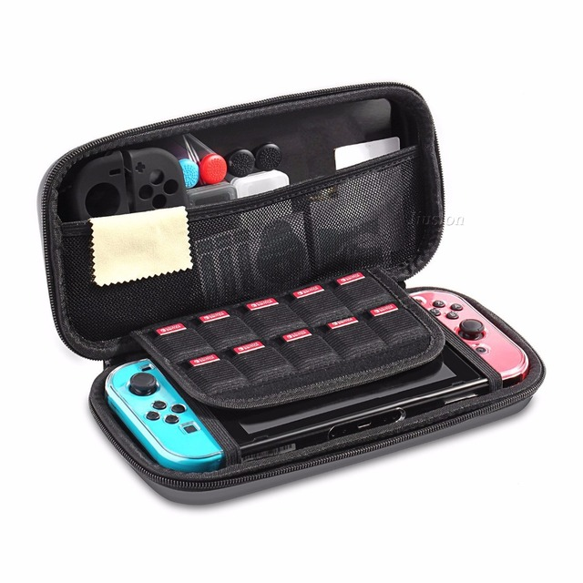 6 in 1 Kit Carrying Bag Storage Box Hard Case for Nintend Switch Console NS&Glass Screen Protector&Crystal Shell&2 Analog Caps  3