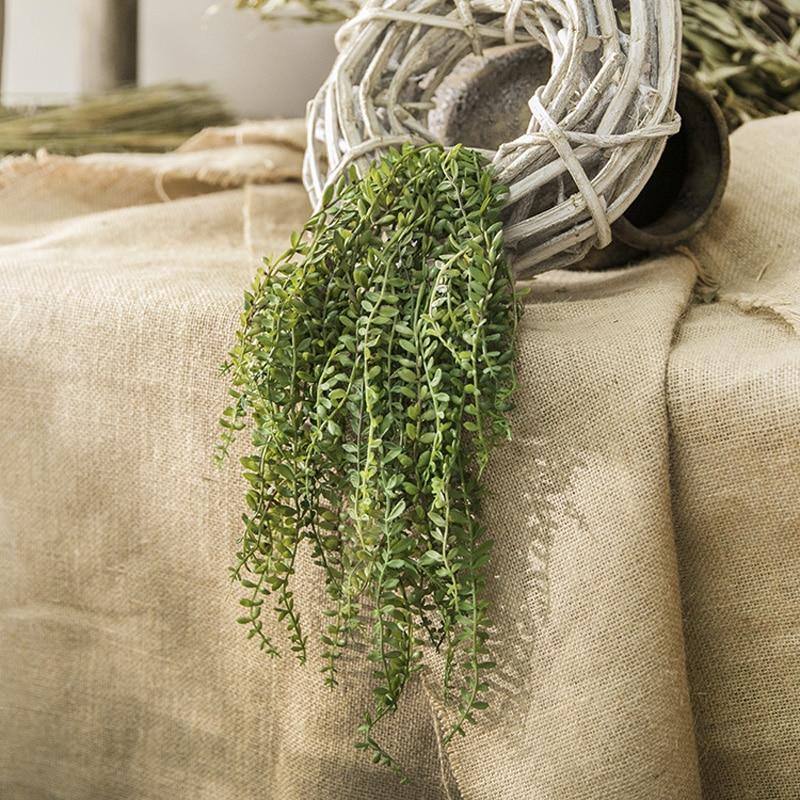 45cm Long Artificial Succulents Senecio Radicans Strings Green Plastic Plants Houseplant Faux Flower Arrangement Decoration 6pcs