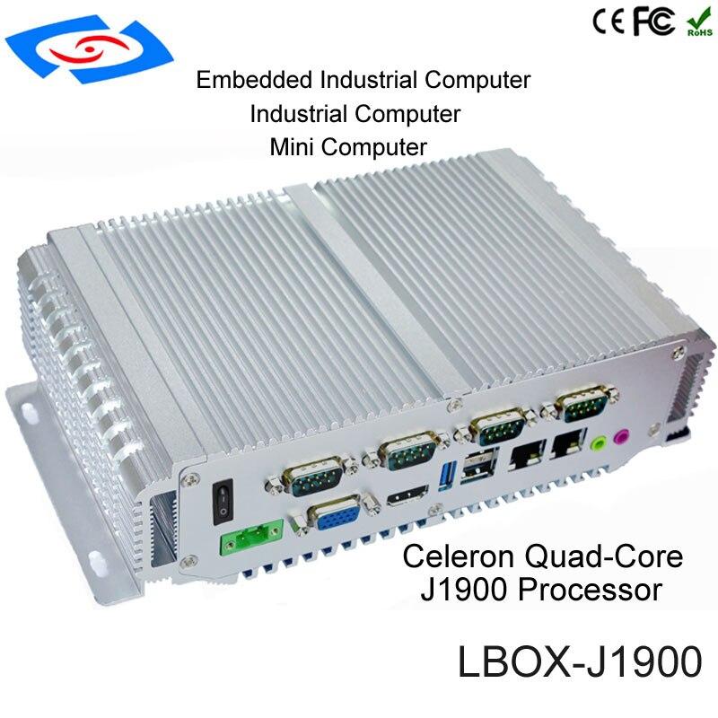 Mini boîte industrielle intégrée sans ventilateur d'application de pc avec la personnalisation de soutien de VGA RJ45 LAN USB3.0 COM RS485/RS422/RS232