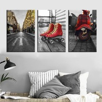 Vintage City Street Landscape Wall Art Canvas Painting Red Motorcycle Skates Poster Yellow Cable Car Building Picture for Decor