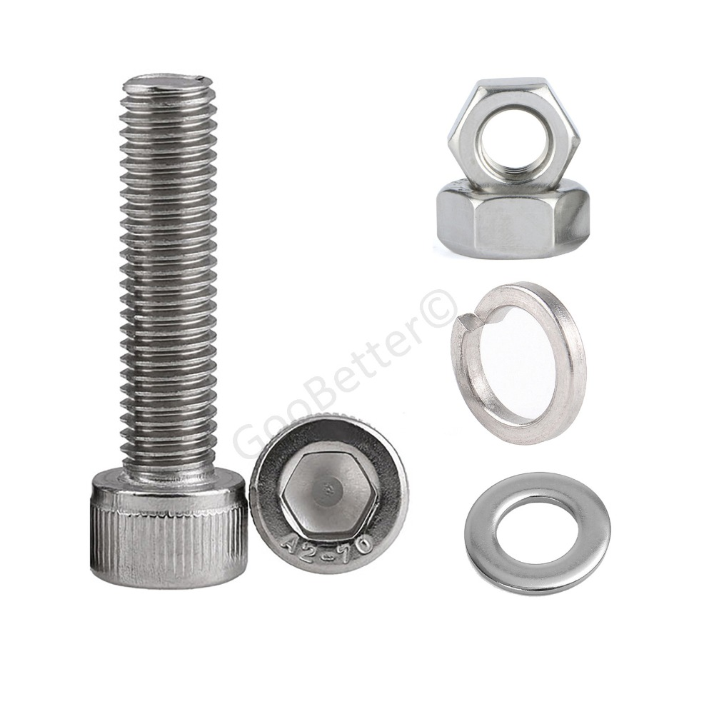 Color : 12mm, Size : M5 10sets Tap Bolts M5 Outer Hexagon Screws Gasket Washer Spring Pad Nut Combination Suit Screw 304 Stainless Steel Screws