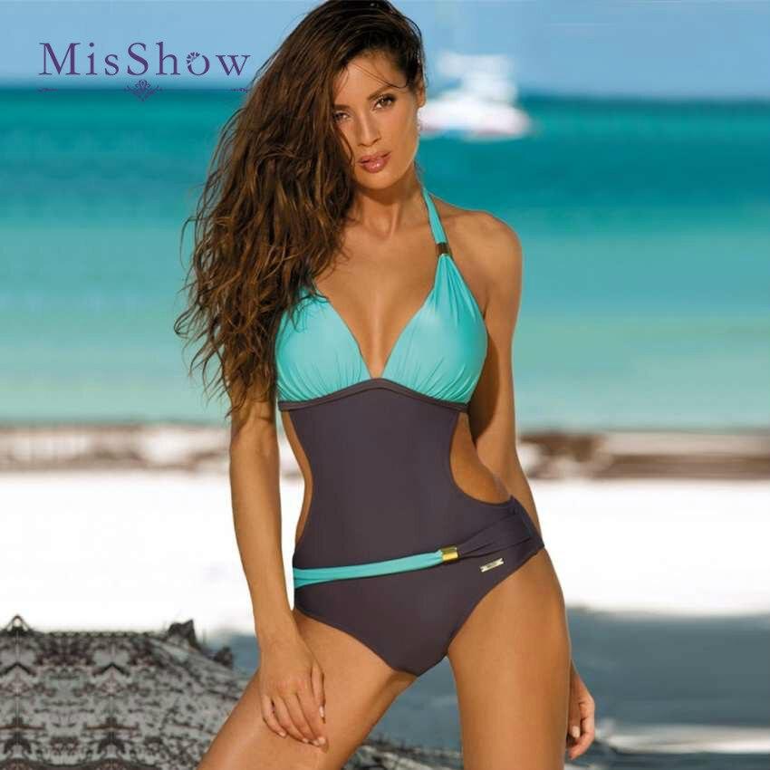 Patchwork Contrast One Piece Swimsuit Backless Push Up Swimsuit Female  New Plus Size Swimwear Women Bathing Suit Slim