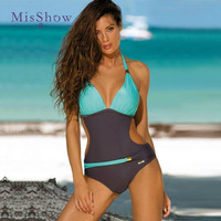 Push Up Monokini Patchwork Plus Size Swimwear Women One Piece Swimsuit Female Swimwear Large Sizes Trikini