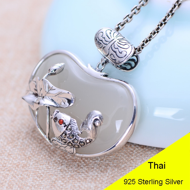 925 Sterling Silver Whtie Chalcedony Pendant Fish with Lotus Women Thai Silver Gift Necklace Accessories DIY Kit CH052668 925 sterling silver women lapis beads yellow chalcedony lotus leaves pendant necklace rope chain thai silver jewelry ch057271