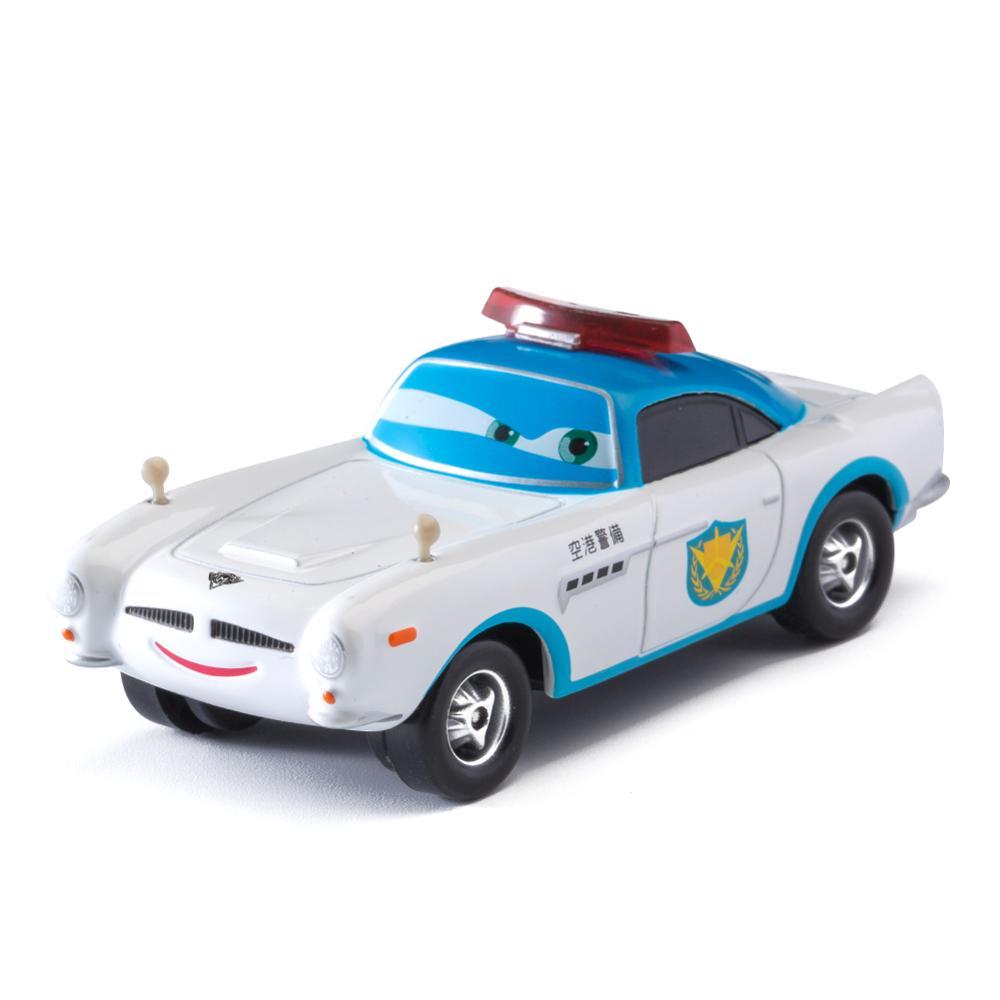 Disney Pixar Cars White Police Car Lightning McQueen Mater Jackson Storm Ramirez 1:55 Diecast Metal Alloy Model Toy For Children
