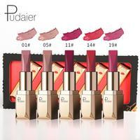 Pudaier Impermeabile 5 pz/set Matte Lipstick Cosmetico Long Lasting Pigmento Velluto Sexy Labbra Nude Rossetto Opaco Lip Kit Batom Z3