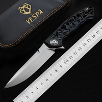 VESPA Dmitry Sinkevich Custom folding Knife M390 Blade Carbon fiber+TC4 Handle flipper hunting knives outdoor Survival EDC tools
