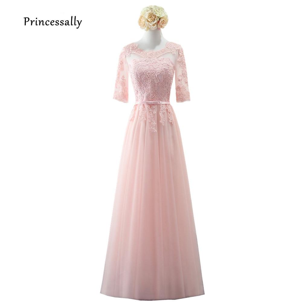5e88d97a4186b Robe De Soriee New Elegant Evening Dresses Floor Length Half Sleeve Lace  Illusion Necl Elegant Bride