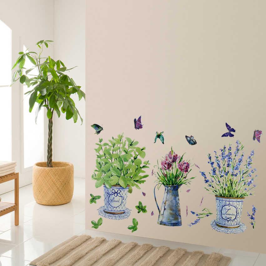 DIY สติ๊กเกอร์ติดผนังกระถางดอกไม้หม้อผีเสื้อตกแต่งบ้าน Decals ห้องน้ำกันน้ำภูมิทัศน์ตกแต่งบ้าน Art Decals