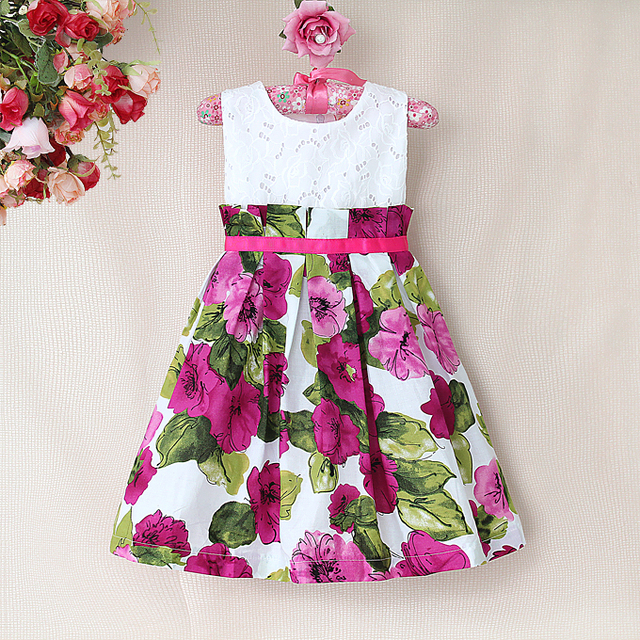 New 2017 Print Dress Brand Hollow Lace Summer Flower Casual Dresses Kids Children S Clothing