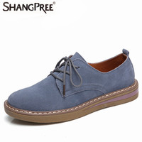 New Women Flats Shoes Autumn Sneakers Flats Shoes Women Leather Suede Lace Up Boat Shoes Round