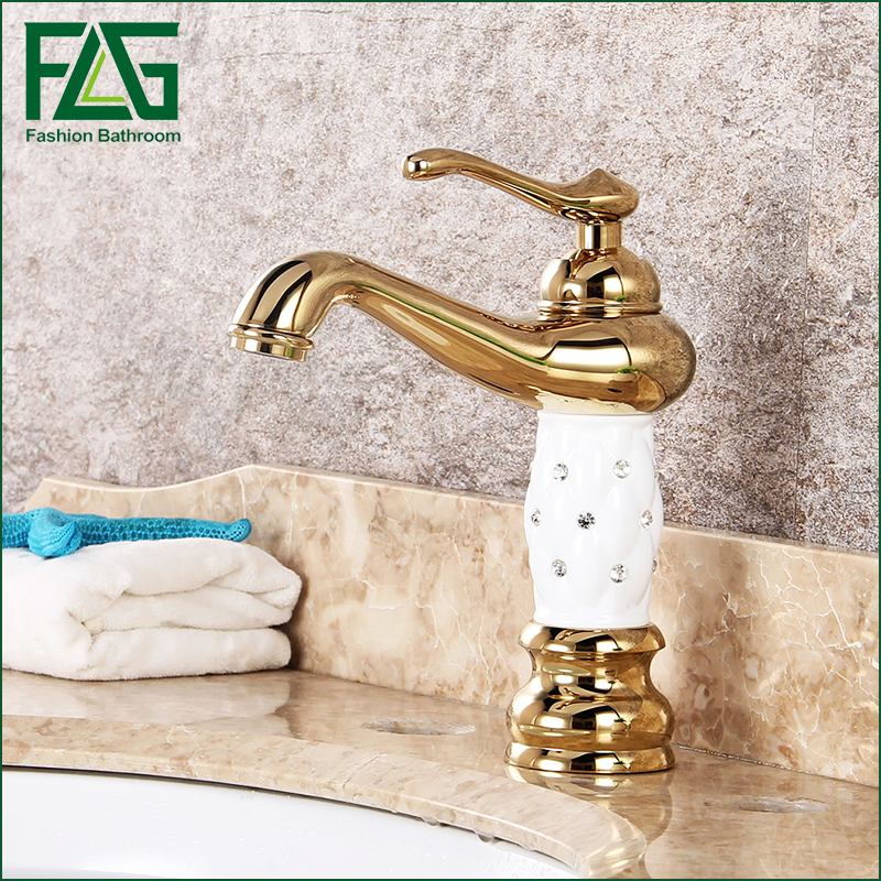 Free Shipping Bathroom Basin Gold Faucet, Brass with Diamond/Crystal Body Tap New Luxury Single Handle Hot and Cold Tap 100088 free shipping luxury new style bathroom basin faucet kitchen faucet hot