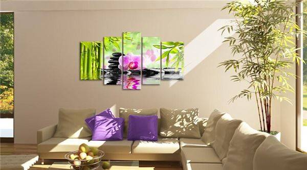 Framed 5 Panel Wall Art Botanical Green Feng Shui Orchid Pink Oil Painting On Canvas Textured Abstract Paintings Pictures Decor