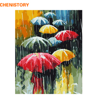 CHENISTORY Umbrella Rain DIY Painting By Numbers Kits Oil Painting On Canvas Handpainted Home Decoration For Unique Gift Artwork