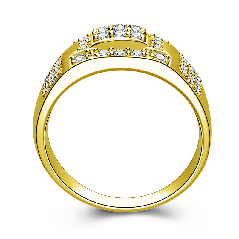 AINUOSHI Luxury 14K Solid Yellow Gold Wedding Band Cluster Ring Brilliant CZ Wide Band Wedding Engagement Gold Men Ring Jewelry