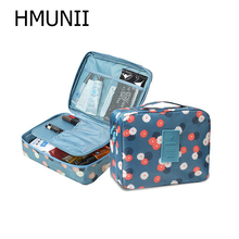 HMUNII cremallera mujeres maquillaje bolsa de nylon bolsa de cosméticos de belleza caso organizador de bolsa kits de almacenamiento de lavado bolsa