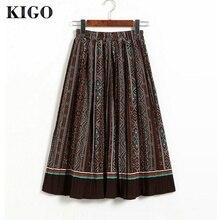 KIGO Summer Chiffon Bohemian Vintage Floral High Waist Pleated Skirt Elastic Waist Print Skirt Boho Midi Holiday Skirt KF0667H