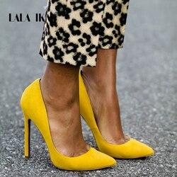 LALA IKAI Women Pump Faux Suede Basic Sandals Solid Colors 2018 Slip On High Heels 10CM Sandals Femme Sexy Pumps 014C0474 -3