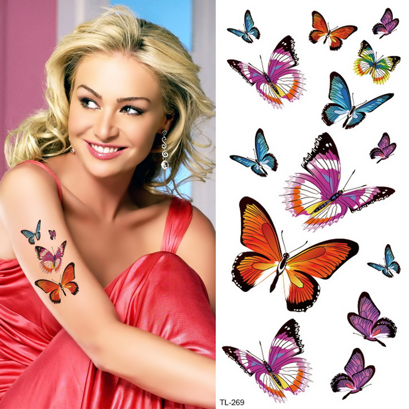 Butterfly Lotus Flower Temporary Tattoo Colorful Feather Leaf Fake Black Waterproof Tattoo Sticker For Girl Kids Body Art Decal