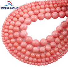 Beads Natural Strawberry Color Stone Round bead Pink Chalcedony 4 6 8 10 12MM DIY For Jewelry Bracelet Necklace Making Wholesale(China)