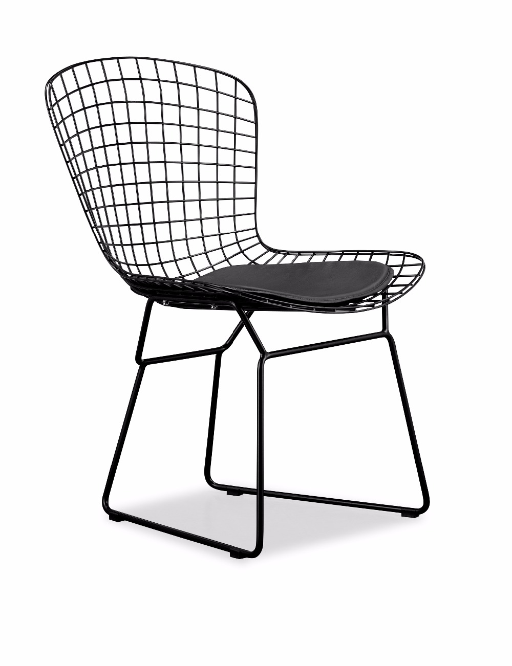 black wire chair stand meaning white powder coating harry bertoia modern classic padded steel side colored metal cafe in dining chairs from