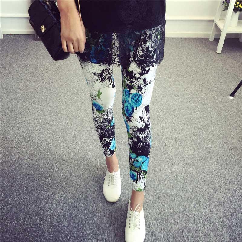 BIVIGAOS Spring Summer Womens Fashion Black Milk Thin Stretch leggings Colored Stars Graffiti Slim Skinny Leggings Pants Female 77