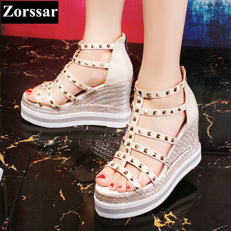 Woman Summer shoes casual wedges platform high heels sandals 2017 Fashion rivets Genuine leather womens peep toe heels pumps woman fashion high heels sandals women genuine leather buckle summer shoes brand new wedges casual platform sandal gold silver