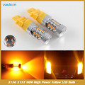 3157 3156 led High Power 80W 16 SMD 3030 LED Amber Yellow Turn Signal P27W T25 led car bulbs P27/7W Car Light Source lamp