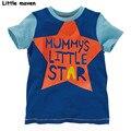 Little maven das crianças marca de roupas de verão meninos roupas de bebê múmia pequena estrela impressão camisetas carta algodão t tops 50665