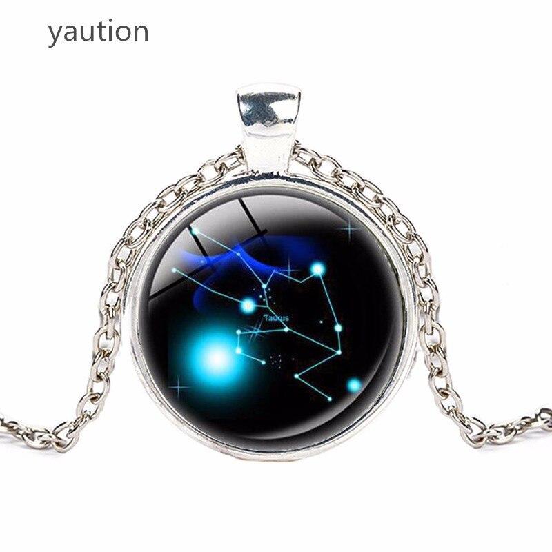 Зодиака кулон кабошон кристалл ожерелье Модные созвездие ожерелье гороскоп, астрология silvrt ожерелье