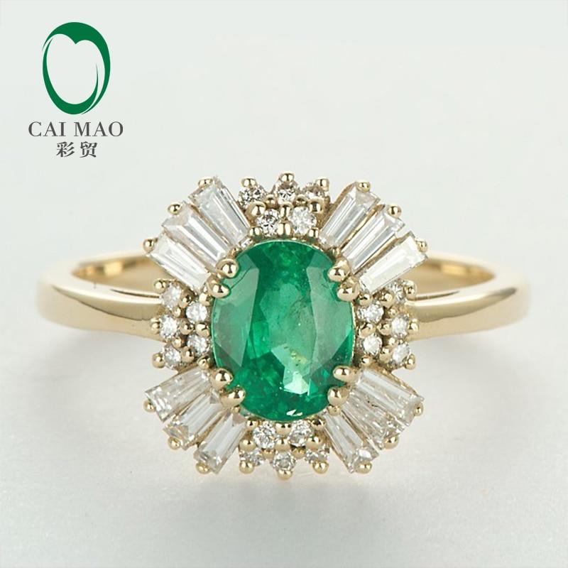 Caimao 14kt Yellow Gold Natural 1.21ct Emerald Round dan Baguette - Perhiasan bagus - Foto 1