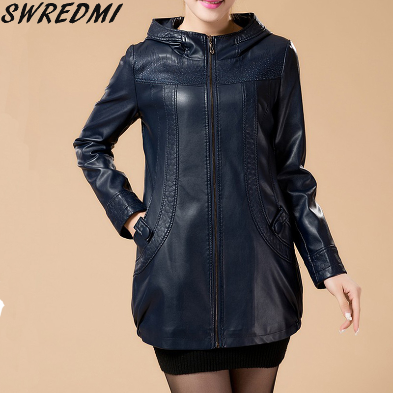 Plus size l 6xl women leather jacket new long leather coat for Leather jacket and shirt