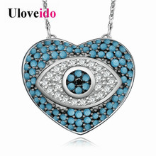 Uloveido New Arrival Female Blue Necklace Heart with Evil Eye Pendant Silver Color Women's Jewelry with 50cm Chain 5% off Y319