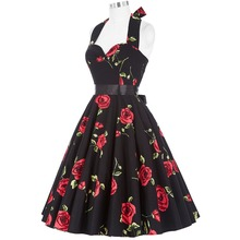 Summer Dresses Women Floral Print Sleeveless Short Casual Cotton Sexy 50s Vintage Dress Vestidos Pinup Rockabilly Dress Hepburn