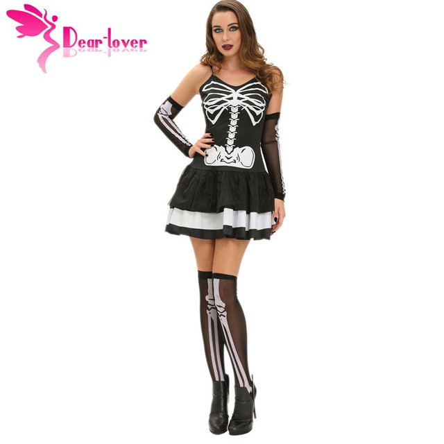 a2a1668b93 Dear-Lover Sexy Women Cosplay Festival 3pcs Sexy Skeleton Halloween  Masquerade Costume Fantasy Dress Leg Warmers Gloves LC89006