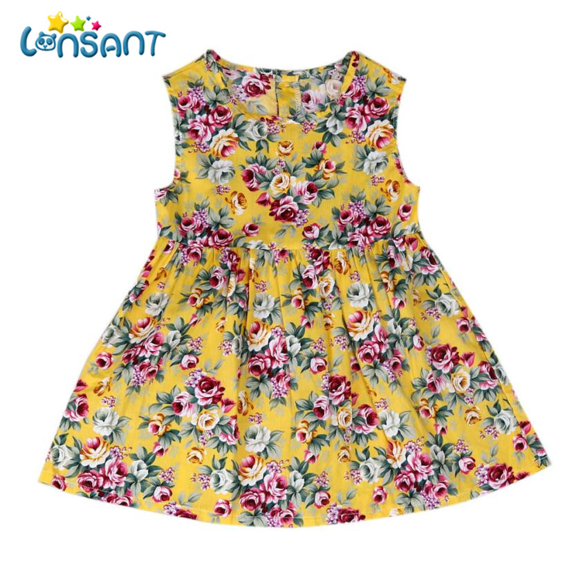 LONSANT 2018 Baby Girl Dress Sleeveless Princess Floral Dress Clothes A-line Vestidos Cute Roupas Infantis Menina Dropshipping cute floral print sleeveless a line dress for girl