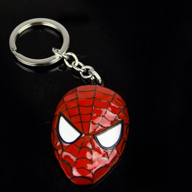 1 Pc new High Quality Superheros Cartoon Spiderman Mask metal Keychain bag <font><b>cool</b></font> Pendant figure <font><b>Toys</b></font> <font><b>for</b></font> <font><b>kids</b></font> gift image