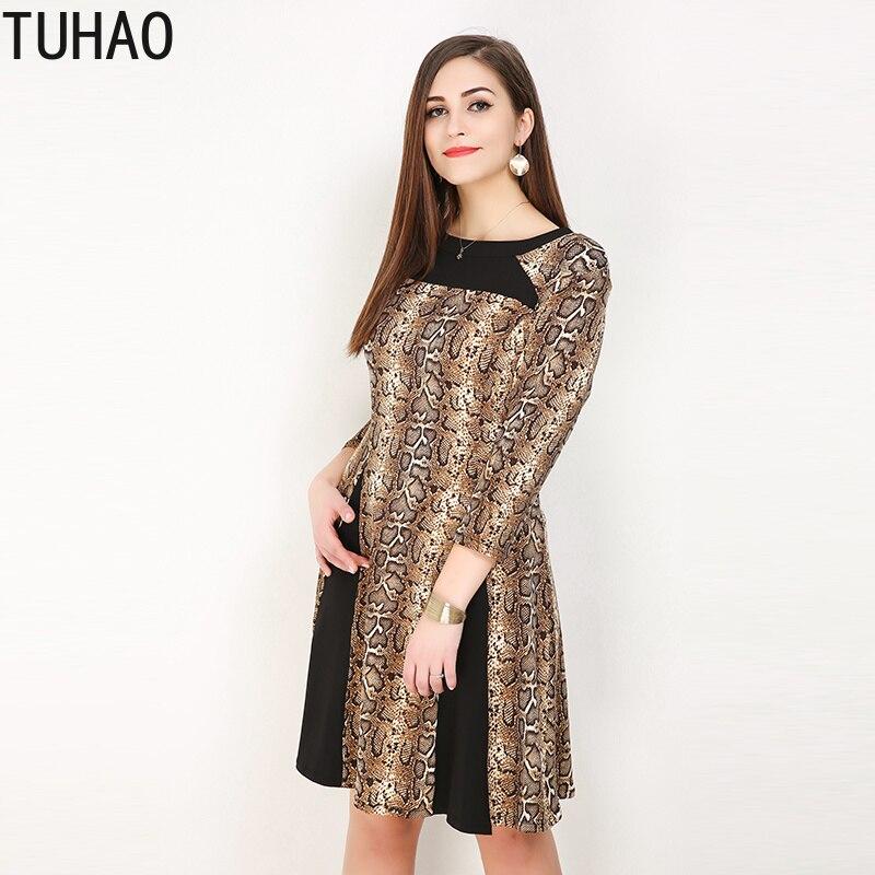 bbf3848eb6a TUHAO 7XL 6XL 5XL плюс размер платье женское элегантное платье винтажные  Элегантные платья принт змеиной кожи