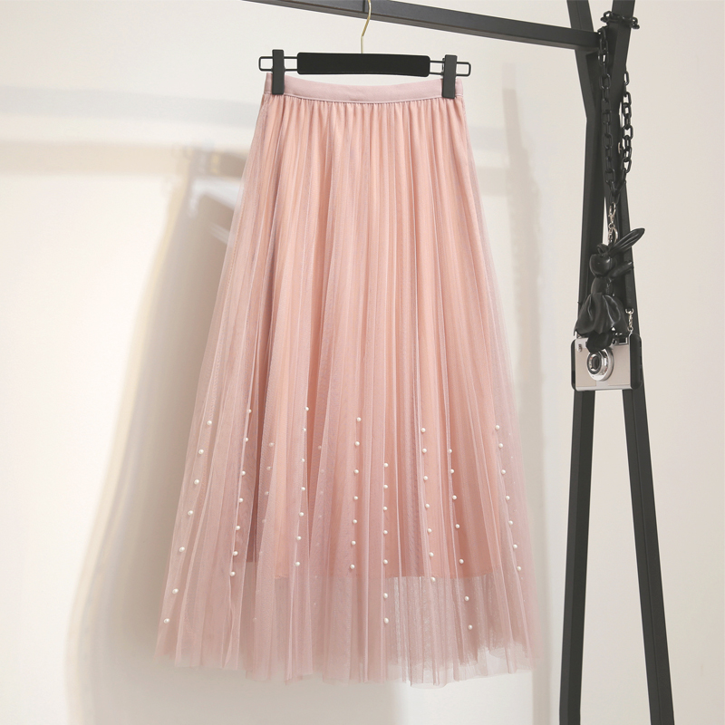 New 2019 Spring Summer Skirts Womens Beading Mesh Tulle Skirt Women Elastic High Waist A Line Mid Calf Midi Long Pleated Skirt 3